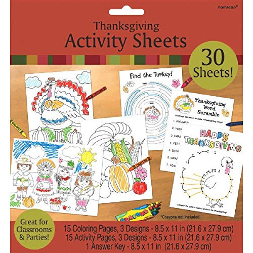 Amscan Festive Fall Thanksgiving Party Thanksgiving Activity Sheets, White, 8.5