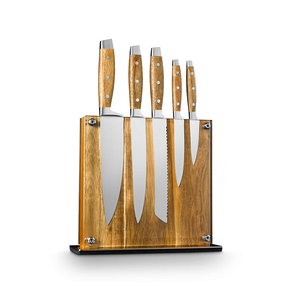Steel Cutlery With Wooden Holder - Art & Cook Elite 6PC Magnetic Knife Block Set