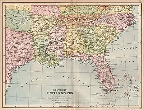Amazoncom USA Southern United States Bible Belt FL GA SC NC - Southern map of usa