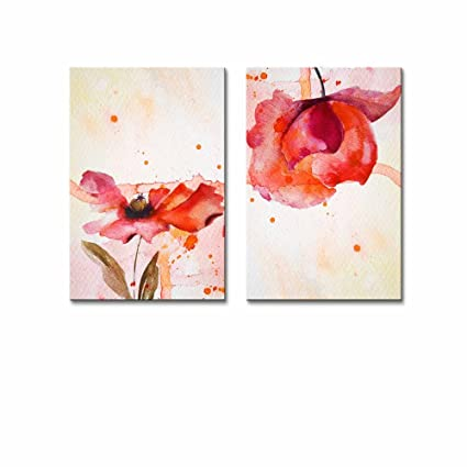 Amazoncom Canvas Prints Wall Art Set Of 2 Peony In Red Watercolor