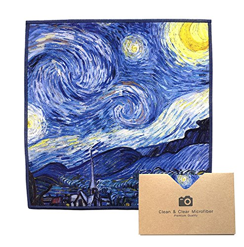 EXTRA LARGE [6 Pack] Classic Art (Vincent Van Gogh Starry Night) - ULTRA PREMIUM QUALITY Clean & Clear Microfiber Cleaning Cloths (Best for Camera Lens, Glasses, Screens, and all Lens.)