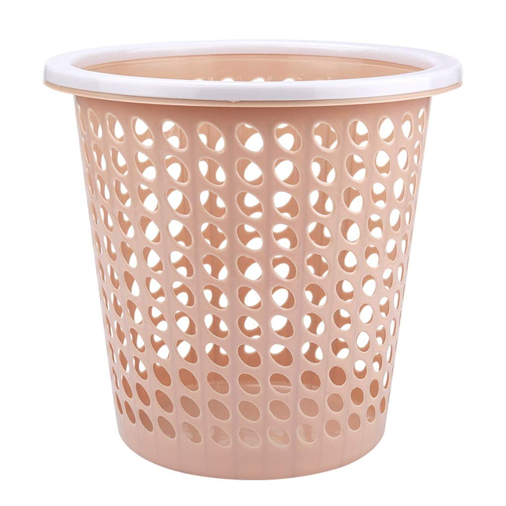 Goquik Press Ring Mesh Family Utility Large Trash Can 12L Office Home Paper Basket Pink Trash Can by Goquik
