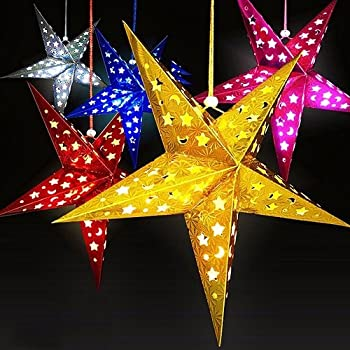 sokaton paper star lantern 3d pentagram lampshade for christmas xmas party holloween birthday home hanging decorations colorful 12 inch 6pcs lights not - Decoration Lights