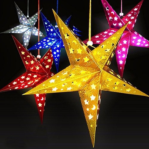 SOKATON Paper Star Lantern 3D Pentagram Lampshade for Christmas Xmas Party Holloween Birthday Home Hanging Decorations Colorful 10 Inch 6PCS (Lights Not Included) (Hide Lamp Shades)