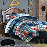 Plaid Striped Boys Teen TWIN Comforter + Sham+ 100% COTTON Sheet Set + Home Style Exclusive Sleep Mask (7 Pc Complete Bedding Set) (Twin)