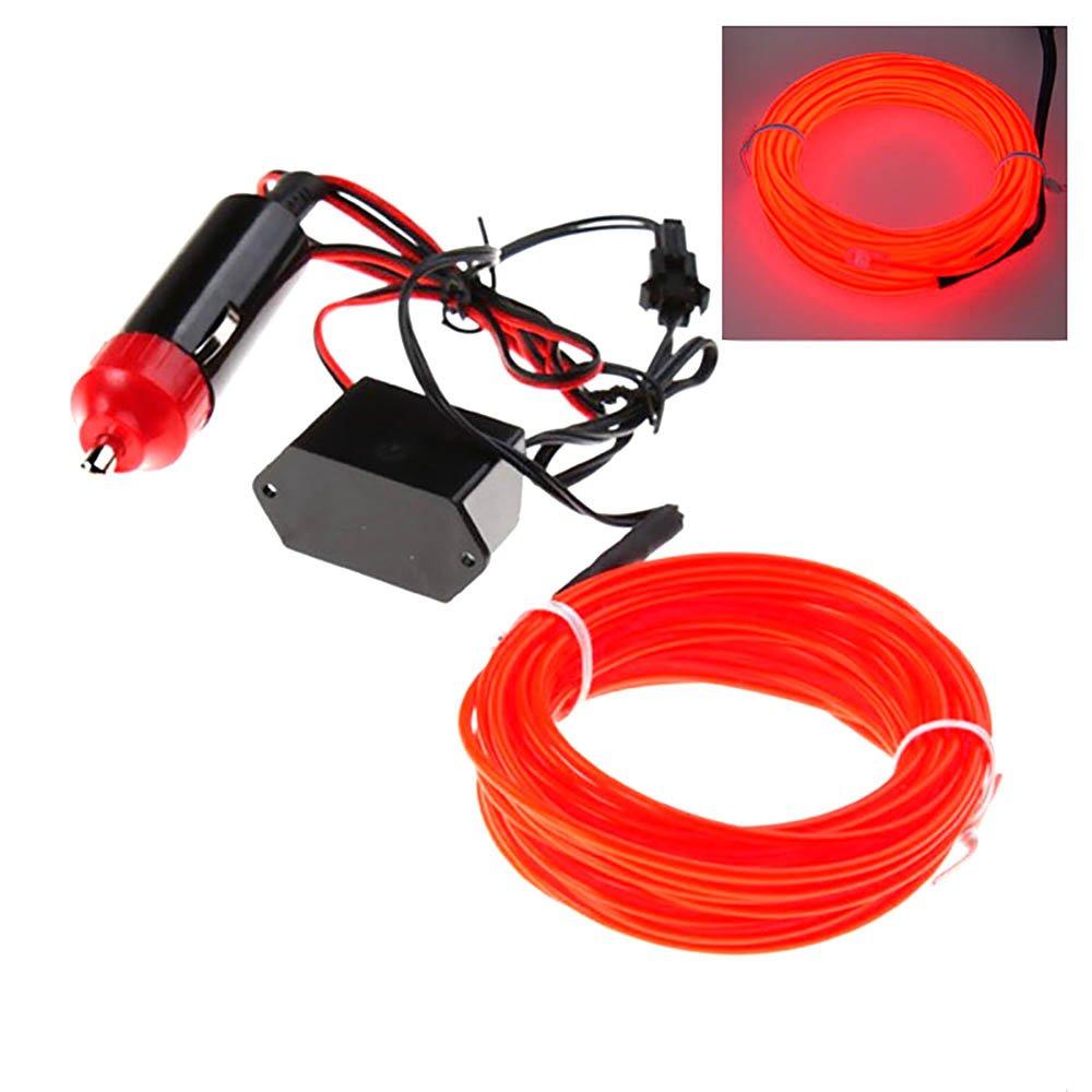 12V Inversor para el coche--Rojo VANKER 5M flexible del LED luz de ne/ón del resplandor de la tira de la cuerda de alambre del tubo