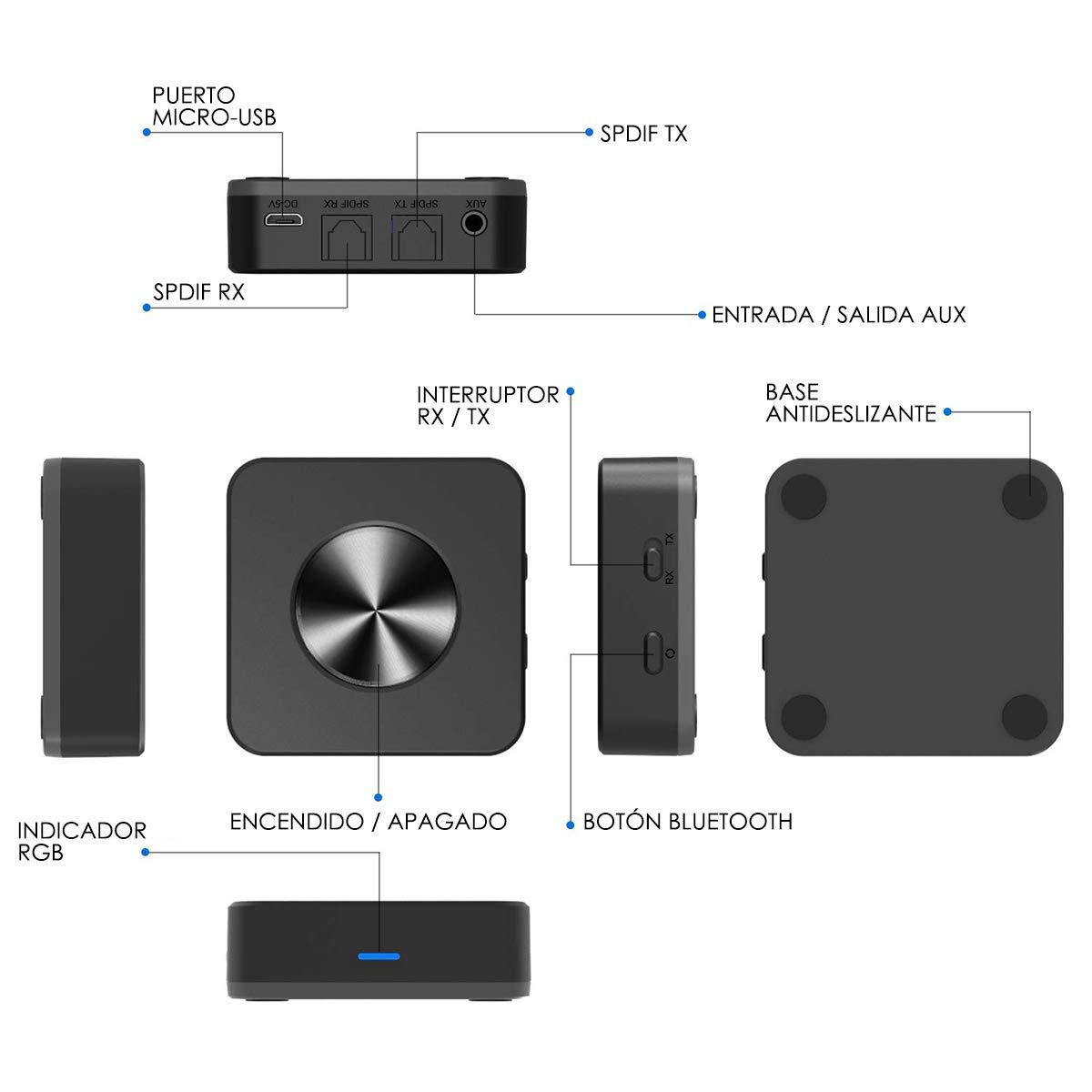 Audiocity Link - Receptor transmisor Bluetooth 5.0 con aptX-LL. Entrada óptica/Digital y Salida AUX 3,5mm. Batería 24 Horas. Distancia 30 Metros. TV, ...