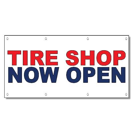 Amazon Com Tire Shop Now Open Red Blue Auto Car Repair Shop Vinyl