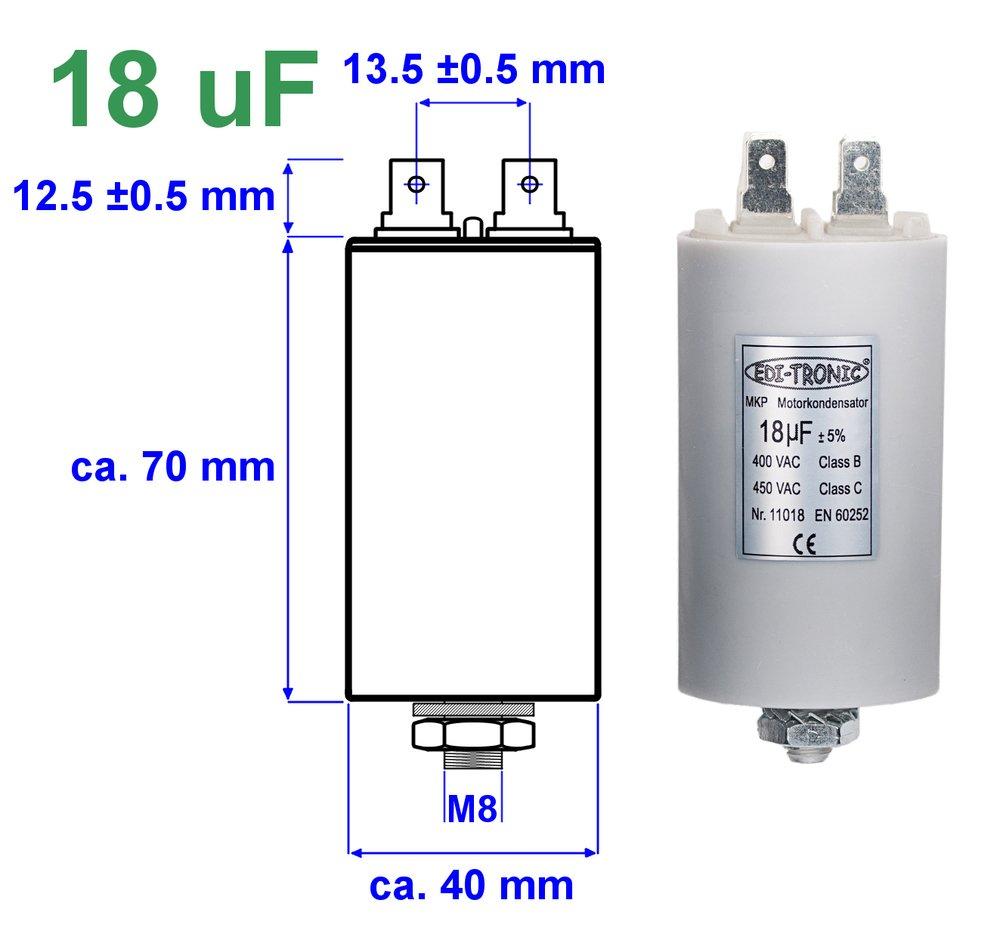 condensateur de travail condensateur de d/émarrage M8 bouchon 1/µF EDI-TRONIC condensateur de moteur 450V avec cosses 6,3mm