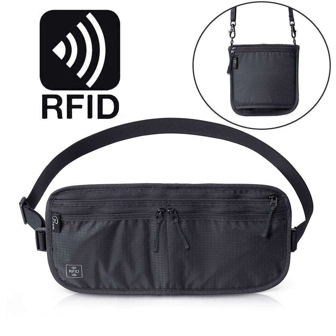Tuscall Reise Bauchtasche Flach Geldgürtel mit RFID-Blockierung Multifunktion Brustbeutel für Festivals & Urlaub zum Verstauen von Wertsachen, Wasserdichte Hüfttasche für Herren, Damen & Kinder