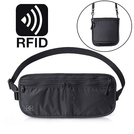 Cinturón de Dinero de Viaje Tuscall Riñonera con bloqueo de RFID Bolsa De Viaje Oculta para