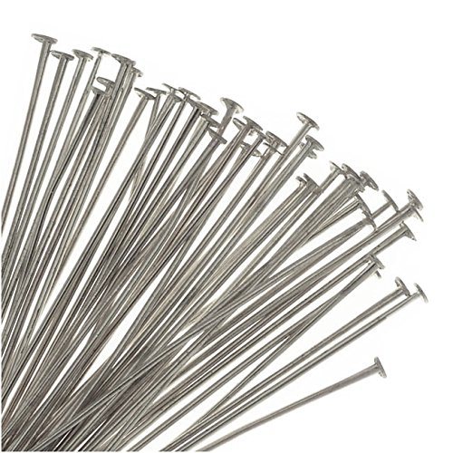 Beadaholique Head Pins, 2 Inches Long and 21 Gauge Thick, 50 Pieces, Silver Tone Nickel Plated