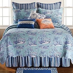 C&F Home Hampstead Toile King 3 Piece Quilt Set King Quilt Set Blue