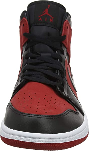 size 40 51732 548e3 Nike Jordan Mens Air Jordan 1 MID Synthetic Leather Gym Red Black Trainers  10 US. Back. Double-tap to zoom