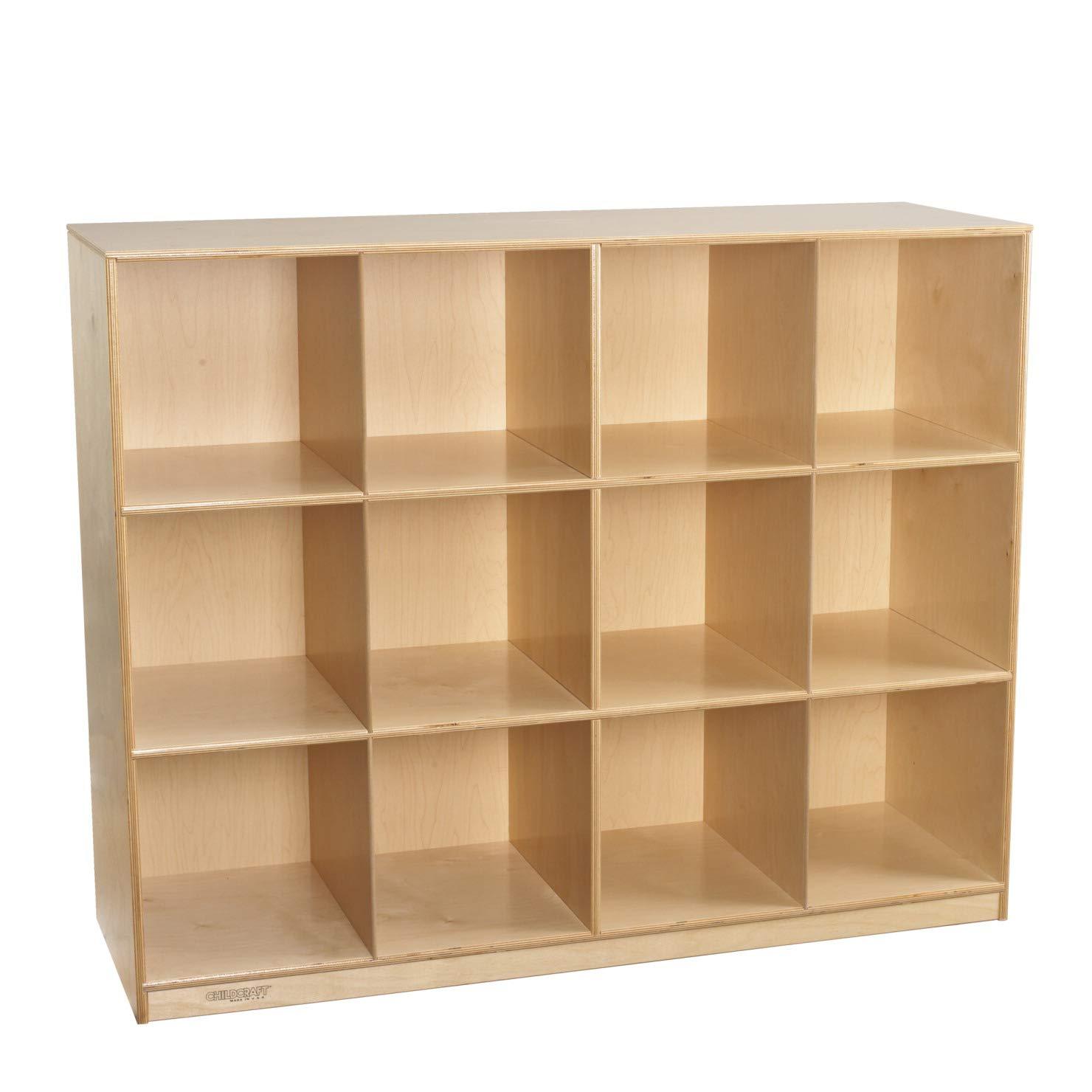 Childcraft 1464173 Mobile Mini Storage Locker, 12-Cubby, Wood, 51-1/2'' x 16-7/8'' x 42'', Natural Wood Tone