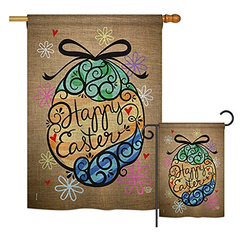 Ornament Collection S192022-BO Colourful Happy Easter Egg Spring Easter Impressions Decorative Vertical House 28