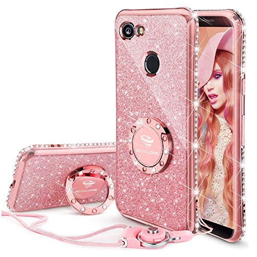Google Pixel 2 XL Case, Glitter Bling Diamond Rhinestone Bumper Cute Pixel 2 XL Phone Case for Girls with Ring Kickstand Sparkly Protective Google Pixel 2 XL Case for Girl Women - Rose Gold/Pink