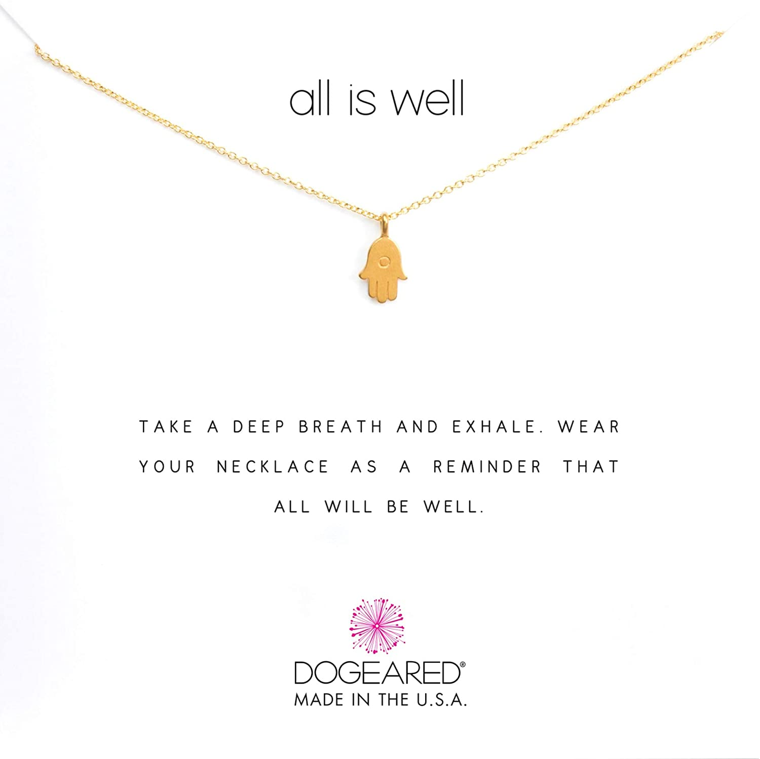 298360e310d159 Amazon.com: Dogeared Women's All is Well Hamsa Reminder Necklace Gold One  Size: Jewelry