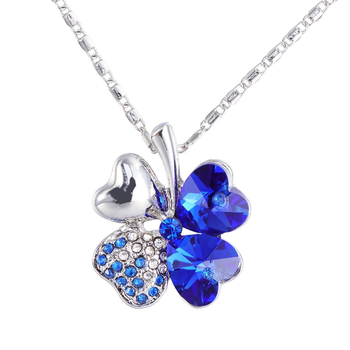 Azul Marino Collar de Cadena de pedrer/ía para el D/ía de San Patricio FENICAL Collar de tr/ébol de Cuatro Hojas con Cristales en Forma de coraz/ón