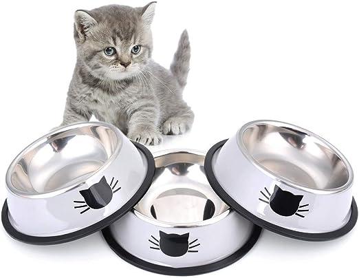 Legendog Cuencos para Gatos, 3 Piezas Cuencos Antideslizantes de Acero Inoxidable Comida Cuencos para Gatos: Amazon.es: Productos para mascotas