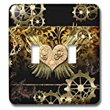 3dRose lsp_243033_2 2 Steampunk Heart with Clocks and Gears Golden Design-Double Toggle Switch