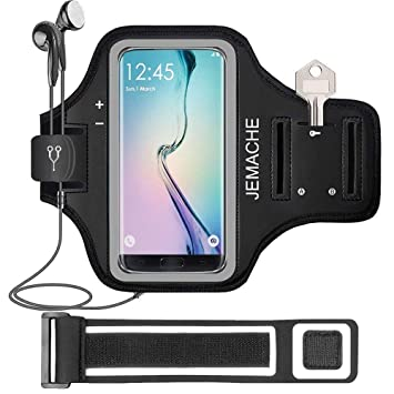 e9a50642a7fc0 Galaxy S10/S9/S8 Armband, JEMACHE Gym Running/Jogging Workout Arm Band Case  for Samsung Galaxy S7 Edge/S8/S9/S10 with Key/Card Holder Extender (Black)