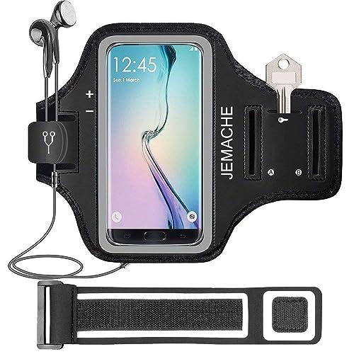 Galaxy S9/S8/S7 Edge Brazalete, JEMACHE Gimnasio Correr Ejercicio Banda de Brazo para Samsung Galaxy S7 Edge/S8/S9 con clave/titular de la Tarjeta (Negro)