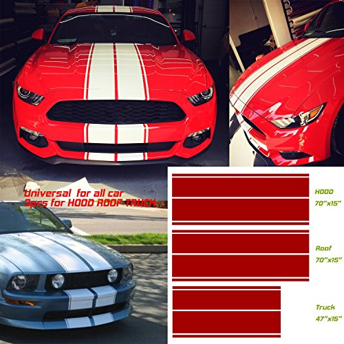 Universal fit for all cars 1Set/3Pairs Vinyl Racing Stripe Decal Sticker for Car Decoration Fender, Hood, Roof, Side, Trunk, Skirt, Bumper of Racing Rally Stripes Stripe Graphics Decal ()