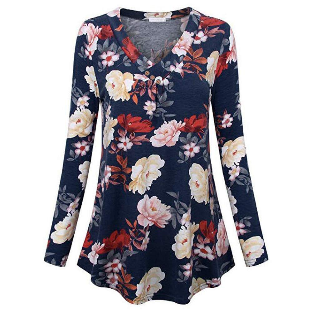 TIREOW Bluse Damen Übergröße Langarm Print V-Ausschnitt Taste Pullover Tops Shirt