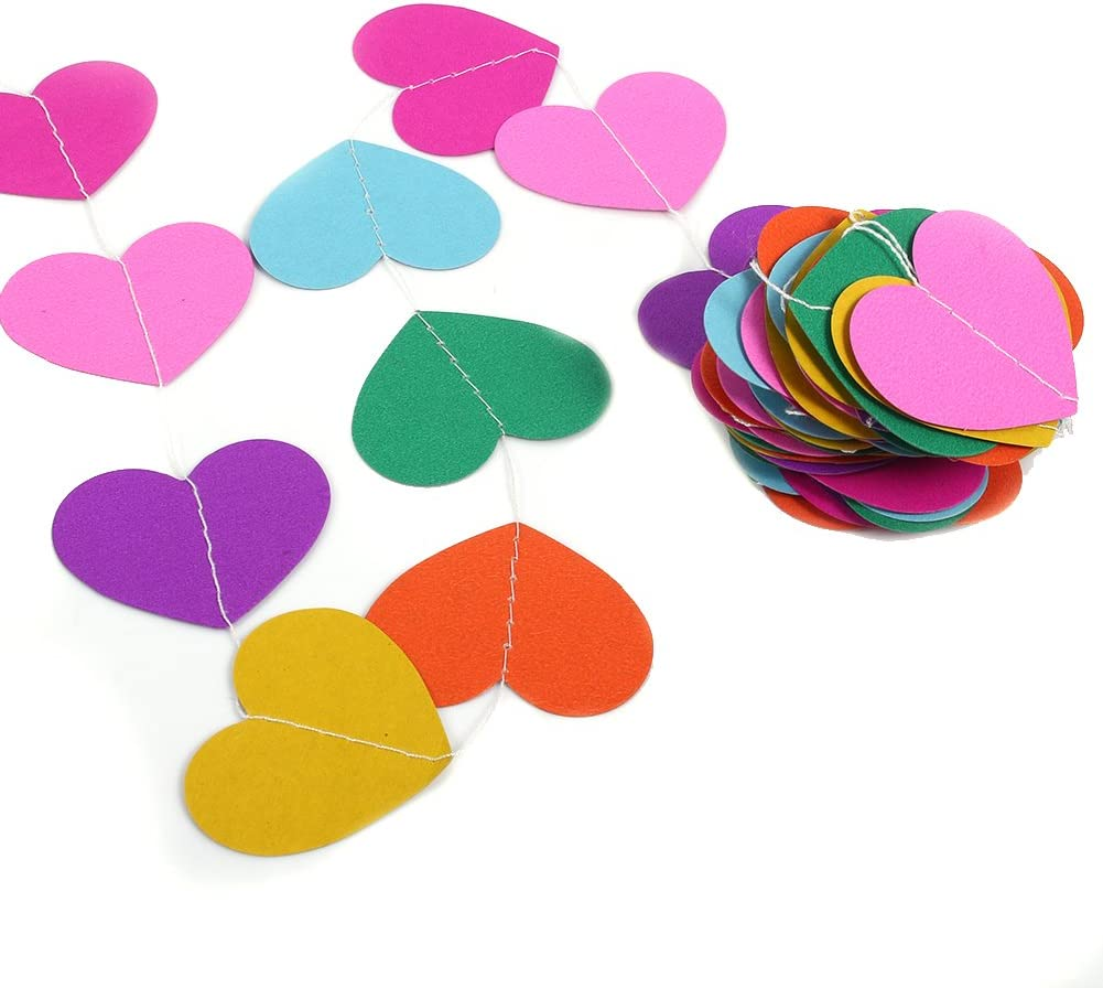Paper Garland 4M Length Heart Shape Hanging Colorful Craft Party Paper Garland Decorations for Birthday Party Wedding Classroom and Childrens Room etc Purple