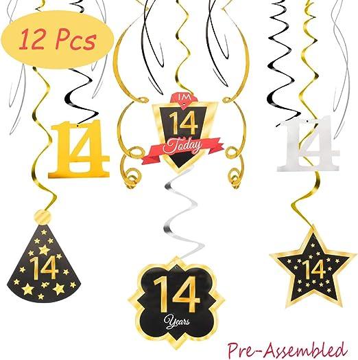Amazon.com: Happy 14th cumpleaños 14 fiesta decoración plata ...