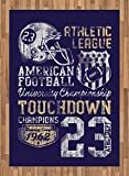 Sports Area Rug by Ambesonne, Retro American Football College Illustration Athletic Championship Apparel, Flat Woven Accent Rug for Living Room Bedroom Dining Room, 5.2 x 7.5 FT, Blue White Yellow