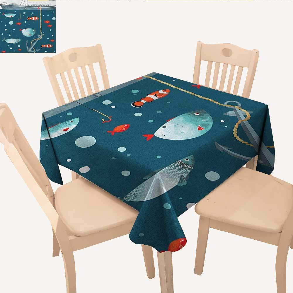 longbuyer アンカー 正方形 テーブルクロス アンカー 色付き ハート セーラー ホリデー エスケープ 海辺 探検 ライフ スクエア テーブルクロス エッグシェル チャコール グレー W 54