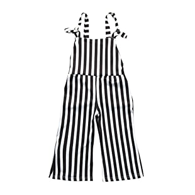 569c48c351b Fineser Toddler Infnat Baby Girls Stripe Straps Overalls Romper Jumpsuit  Playsuit Outfits Clothes (Black