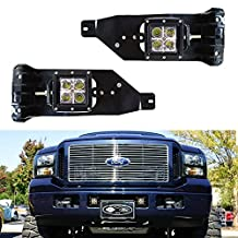 iJDMTOY Complete 40W High Power LED Fog Lights with Mounting Bracket, Wiring Harness, On/Off Switch For 2005-2007 Ford F-250 F-350 F-450 Super Duty or Excursion