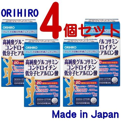 オリヒロ 高純度 グルコサミン コンドロイチン 低分子ヒアルロン酸 270粒×4個セット B01CFDC8OU