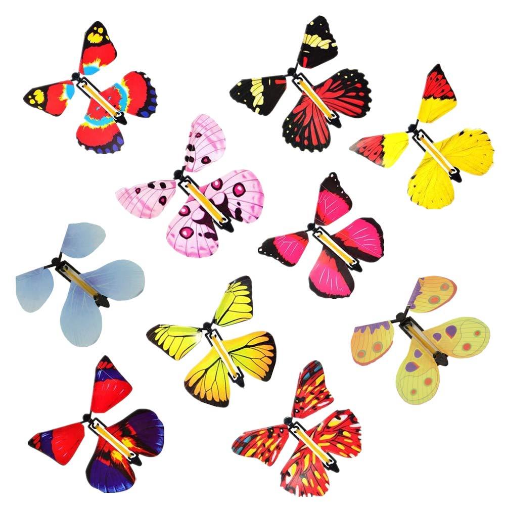 SEALEN 10 PCS fée Magique Volant Papillon dans Le Livre, Papillon en Caoutchouc Bande Alimenté Jouet de Papillon à Remonter, Nouveauté Jouets à Remonter pour Les Cadeaux (Couleur Aléatoire)