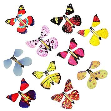 Sealen 10 Pcs Fee Magique Volant Papillon Dans Le Livre Papillon En Caoutchouc Bande Alimente Jouet De Papillon A Remonter Nouveaute Jouets A