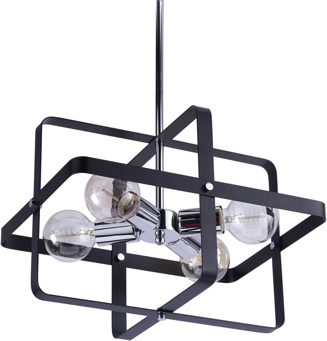 VILUXY Contemporary Geometric Pendant Light Fixture with Black Shade for Dining Room, Bedroom, Living Room Kitchen Island, Foyer 4-Light