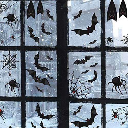 TMCCE 107 Piece Halloween Party Decorations Black Bats Spiders Window Clings Decals Stickers for Halloween Party Supplies -