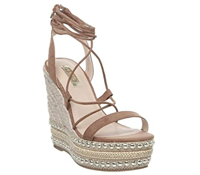 Womens Office Hula Ghillie Chunky Wedges Tan With Studs Heels
