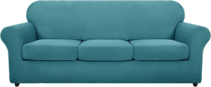 MAXIJIN 4 Piece Newest Couch Covers for 3 Cushion Couch Super Stretch Non Slip Couch Cover for Dogs Pet Friendly Elastic Jacquard Furniture Protector Sofa Slipcovers (Sofa, Peacock Blue)