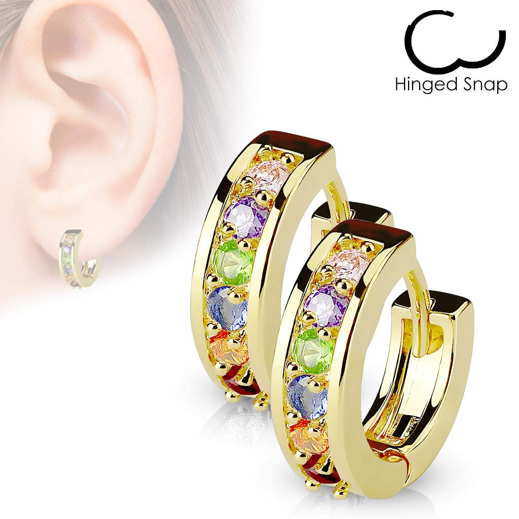Sold as Coordinating Pairs 20G Pair of Paved CZ Gold Plated 316L Surgical Steel Earrings