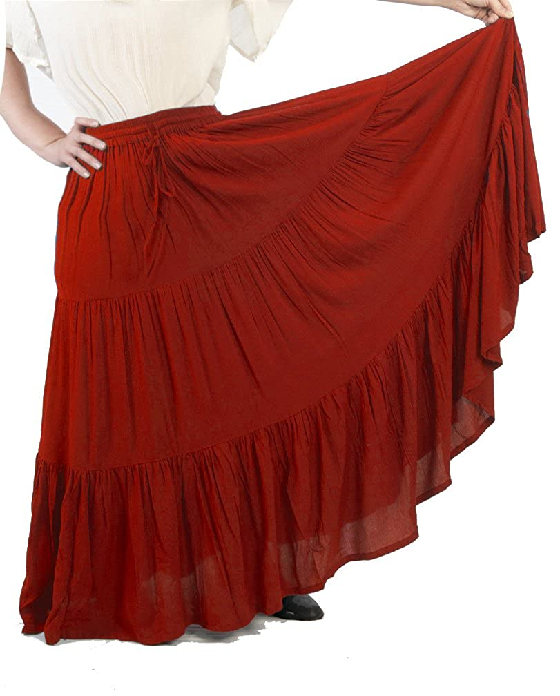 Women's Romantic Renaissance 3-Tier Rust Ruffled Peasant Skirt - DeluxeAdultCostumes.com