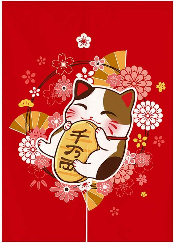 Japanese Noren Doorway Curtain Tapestry Maneki Neko Lucky Cat and Flower Printed Door Curtain Ukiyoe Room Divider Home Decoration, 33 x 59 inches