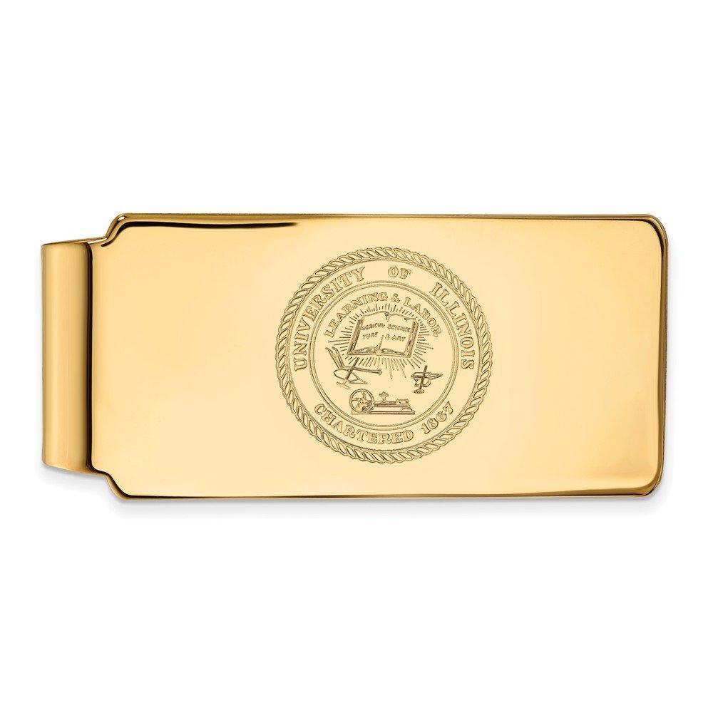 10k Yellow Gold LogoArt Official Licensed Collegiate University of Illinois UI Crest Money Clip