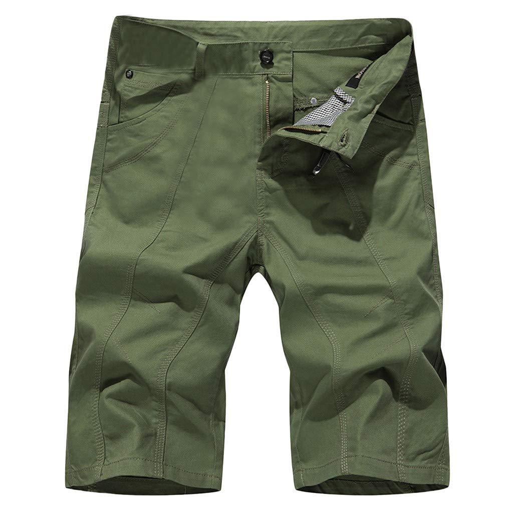 Allywit-Mens Loose Workout Outdoor Athletics Pocket Jeans Cargo Pants Outdoor Tactical Shorts Plus Size Green by Allywit-Mens