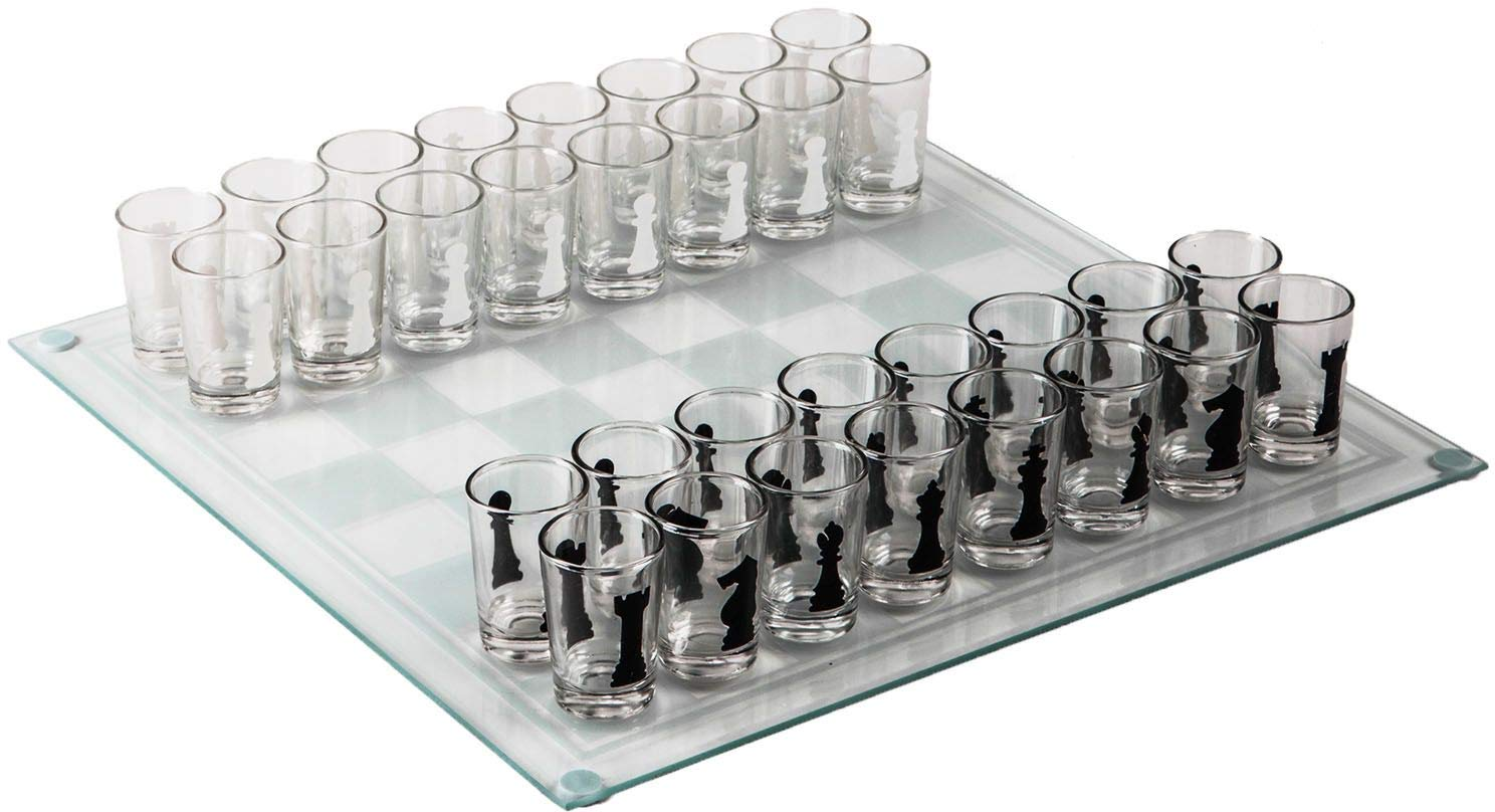 Clear Home Essentials /& Beyond Funville Chess Drinking Game with Shot Glasses