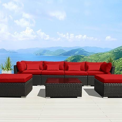 Modenzi 7C-U Outdoor Sectional Patio Furniture Espresso Brown Wicker Sofa Set (Red) : wicker sectional patio furniture - Sectionals, Sofas & Couches