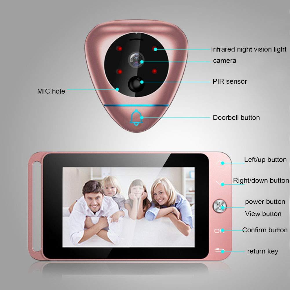 MIAO@LONG Mirilla Inteligente, Cámara De Visión Nocturna HD Sensor De Movimiento PIR Detección De Movimiento con 170 Grados De Gran Angular, ...